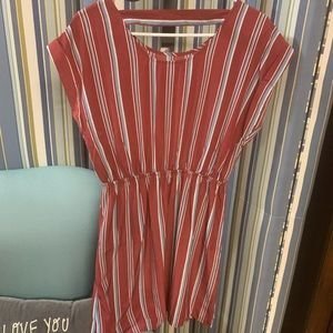 Lightweight Soft Red/white/blue Striped mini dress